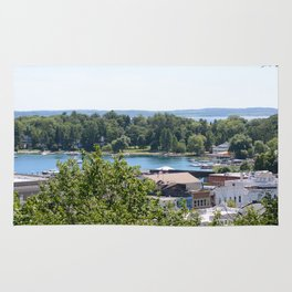 Harbor Springs Bay- View from Bluff (1) Rug