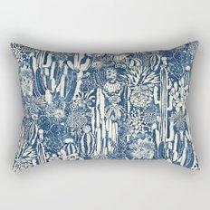 Indigo cacti Rectangular Pillow