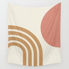 Mid century modern pink Sun & Rainbow Wall Tapestry