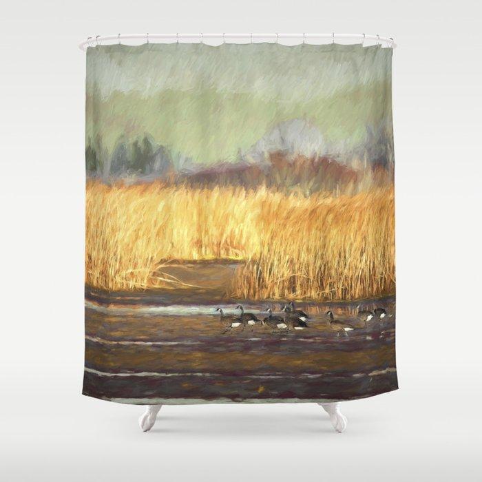Dusky Canada Geese Wintering At Fern Ridge Shower Curtain