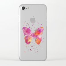 Artsy Butterfly colorful watercolor art Clear iPhone Case