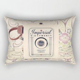 Retro Beige Camera on a Violet Paisley Background  Rectangular Pillow