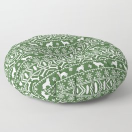 Bernese Mountain Dog fair isle christmas green and white pattern holiday dog breed gifts Floor Pillow