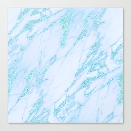 Turquoise Marble - Shimmery Glittery Turquoise Blue Teal Green Marble Metallic Canvas Print