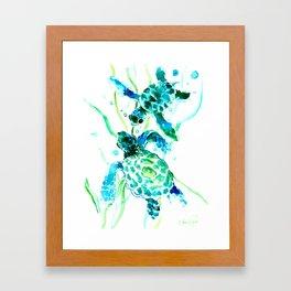 Sea Turtles, Turquoise blue Design Framed Art Print