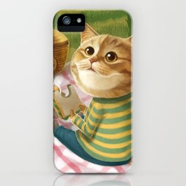 A cat is having a picnic iPhone Case