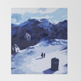 Tardis Art At The Snow Mountain Throw Blanket