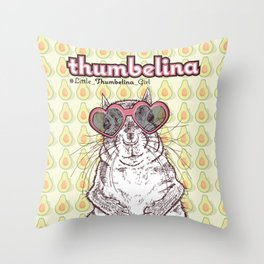 Little Thumbelina Girl: heart sunnies Throw Pillow