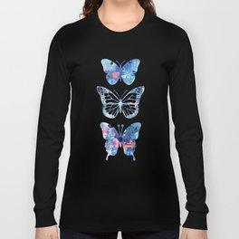 Butterflies Three Blue Clothes Women Long Sleeve T-shirt