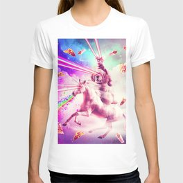 Laser Eyes Space Cat Riding Dog, Unicorn - Rainbow T-shirt
