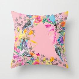Stardust Pink Floral Birds Motif Throw Pillow
