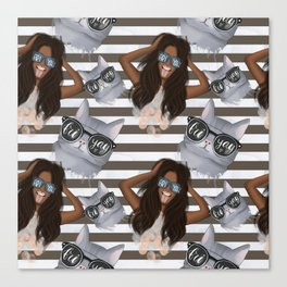 African American Girl With Glasses Friyay And Cat With Glasses Friyay Pattern Canvas Print