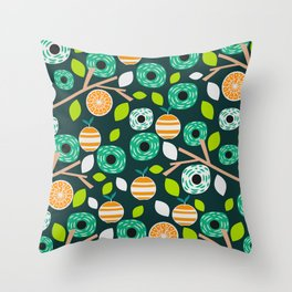 Oranges and flowers Throw Pillow