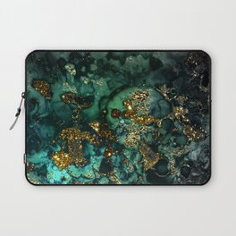 Gold Indigo Malachite Marble Laptop Sleeve