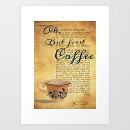 Ok, But First Coffee Saying Art Print