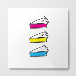 3 Pies - CMYK/White Metal Print