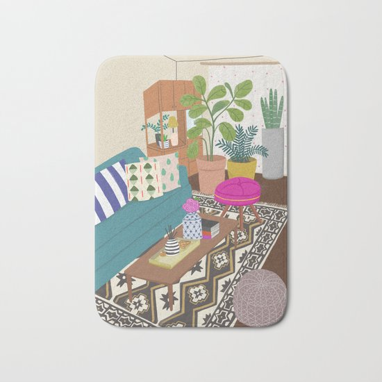 Home Series 1, interior, home, place, living room illustration Bath Mat