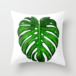 Monstera Leaf Paintings Throw Pillow