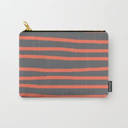 Simply Drawn Stripes Deep Coral on Storm Gray Carry-All Pouch