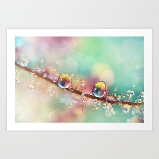 Rainbow Smoke Drops Art Print