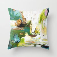 "flora bowley Throw Pillows featuring ""Rise Above"" Original Painting by Flora Bowley by Flora Bowley"