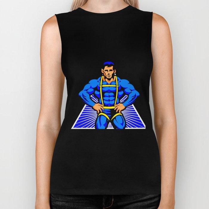 Superhero blue illustration Biker Tank