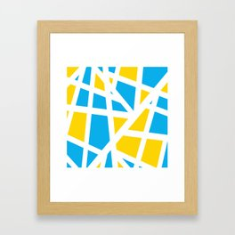 Abstract Interstate  Roadways Aqua Blue & Yellow Color Framed Art Print