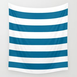 Sea blue - solid color - white stripes pattern Wall Tapestry