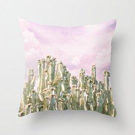 Unicorn Sky Cactus Throw Pillow