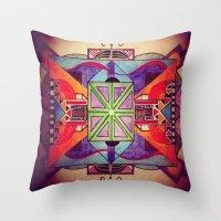 mandala Throw Pillows featuring Mandala by Aaron Carberry