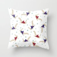 backpack Throw Pillows featuring Rocket Backpack by Ottilie Baker