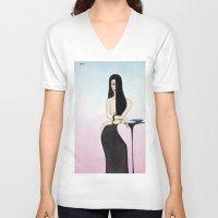 cafe V-neck T-shirts featuring cafe by Mark Kovalchuk