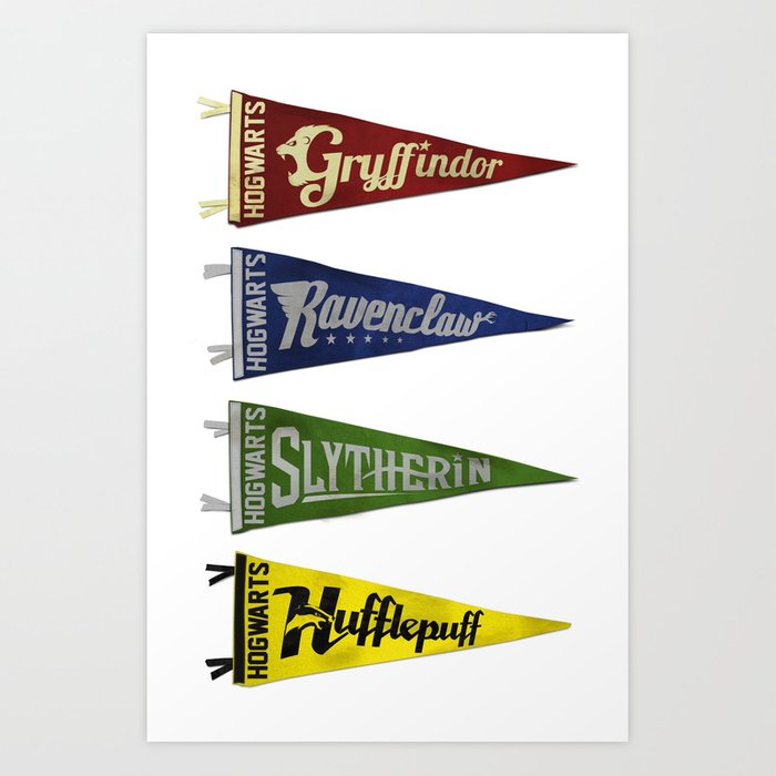 Vintage Hogwart's Pennant Collection Art Print