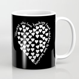 Hearts Heart Teacher White on Black Coffee Mug