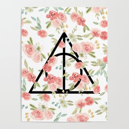Floral Deathly Hallows Poster
