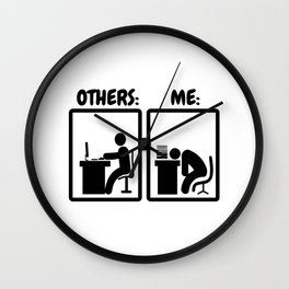 Workaholic Stickman Office Humor Wall Clock