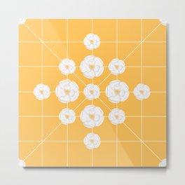 White flowers symmetrically yellow background Metal Print