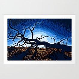 Eerie Horizontal Dead Tree Silhouette 1 Art Print