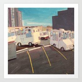 Parking Lot, Queens (Ice Cream Trucks) Art Print