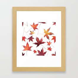 Dead Leaves over White Framed Art Print