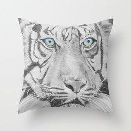 Saber White Tiger Throw Pillow