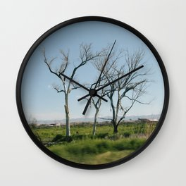 Trees from the car Wall Clock