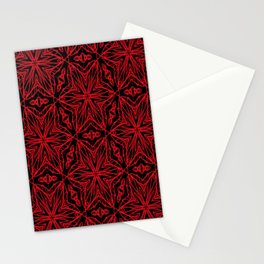Black and red geometric flowers 5006 Stationery Cards