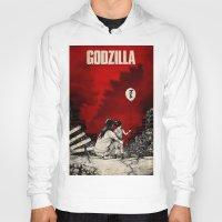 godzilla Hoodies featuring Godzilla.  by Sinpiggyhead