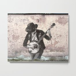 Spray Paint - Banjo Player Metal Print