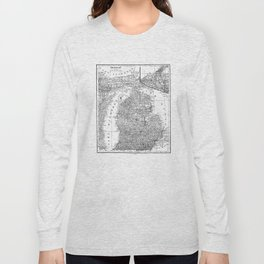 Vintage Map of Michigan (1909) Long Sleeve T-shirt
