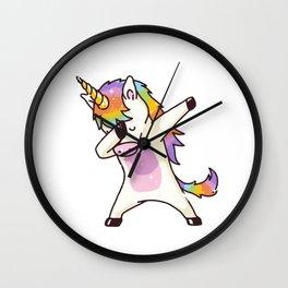 Dabbing Unicorn Shirt Dab Hip Hop Funny Magic Wall Clock