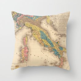 Vintage Italy Geology Map (1844) Throw Pillow