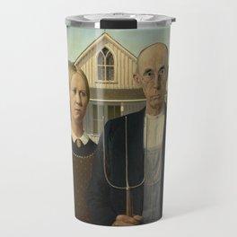 American Gothic by Grant Wood Travel Mug