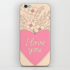 pink heart with flowers iPhone & iPod Skin